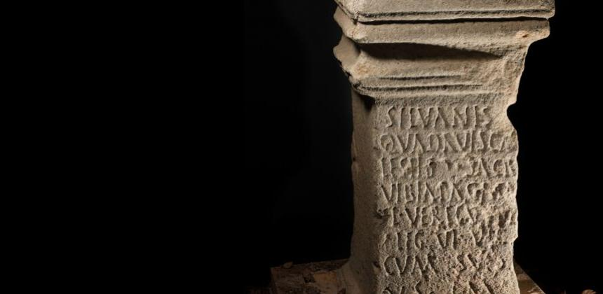 Altar dedicated by Vibia Pacata at Westerwood – she was wife of commanding officer who is recorded travelling round empire with him. Photo HES